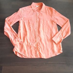 Club Monaco 100% Silk Long Sleeve Blouse - Coral
